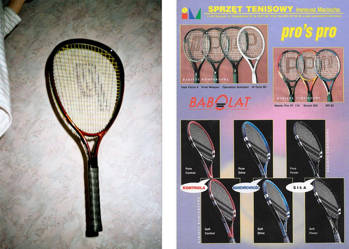 Na zdjęciu po lewej: tak w latach 90-tych robiło się katalogi (wprawne oko dostrzeże rękę trzymającą na żyłce rakietę). Po prawej: gotowy katalog do sprzedaży wysyłkowej