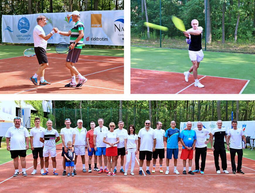 Jan Englert, Wojciech Dąbrowski, Paweł Orleański i uczestnicy tenisowego turnieju artystów w Serocku