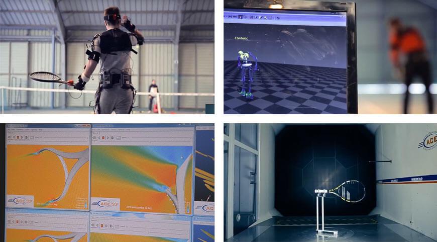 Zdjęcia górne: testy biomechaniczne rakiety, Zdjęcia dolne: testy aerodynamiczne rakiet Babolat