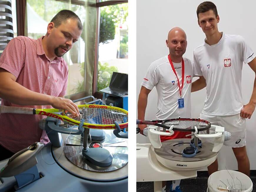 Z lewej: Mirosław Nawracaj. Z prawej: Łukasz Lajdamik z Hubertem Hurkaczem
