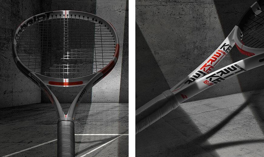 Zdjęcie po lewej: imitacja celownika optycznego na ramie rakiety, po prawej: nowe pionowe logo serii Pure Strike