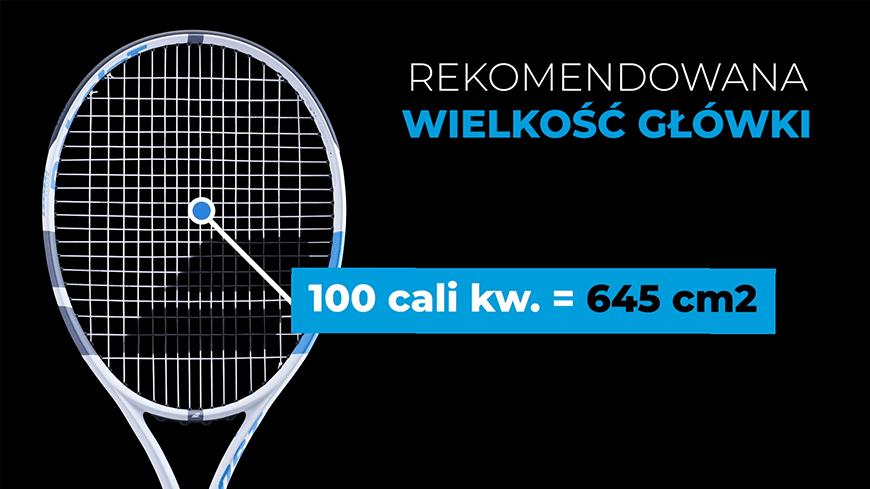 Infografika: rekomendowana wielkość główki w rakiecie tenisowej dla średnio - zaawansowanych