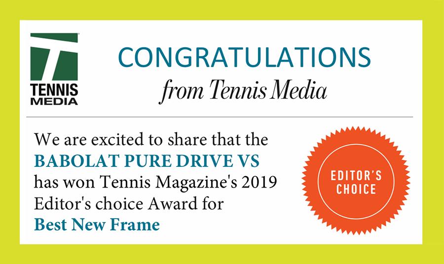 Pure Drive VS wybrany najlepszą nową rakietą 2019 roku wg Tennis Magazine