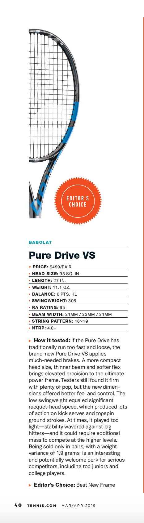 Recenzja Pure Drive VS w Tennis Magazine