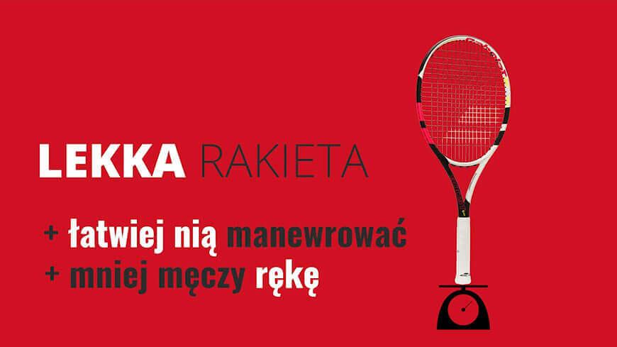 Infografika: zalety lekkiej rakiety tenisowej dla graczy początkujących